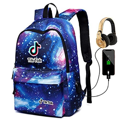 Tiktok Shake Record Hermosa Vida Bolsa de Hombro Galaxy Mochila Hombres Y Mujeres Bolso Estudiante USB Carga + Auriculares-Color5