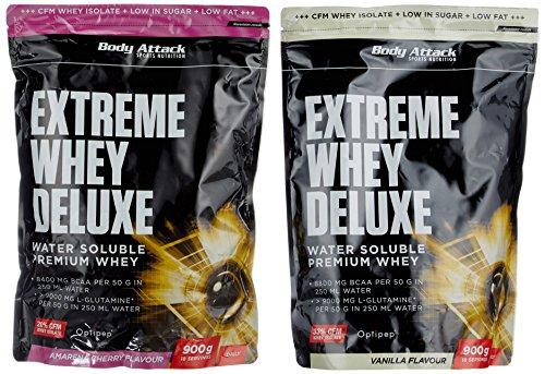 Body Attack Extreme Whey Deluxe, Amarena Cherry + Vanille, 1800 g, 2 Stück