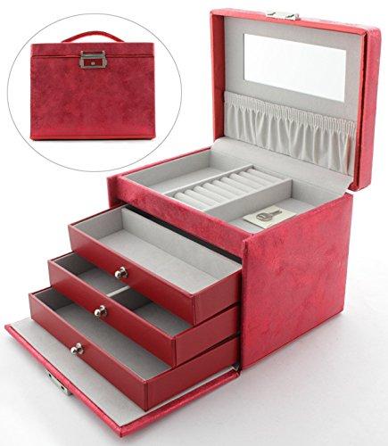 DAVIDT`S Schmuckkoffer mit 3 Schubladen B338205 Rot
