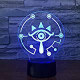Lámpara de mesa 3D Zelda Legend Link Wild Link Night Light 7 colores Luz de ilusión visual