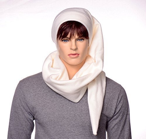 Cream Extra Long Wrap Around Stocking Cap Off-White Fleece Scarf Hat