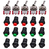 Twidec/Each 5 12mm SPST Self-Locking Latching Push Button Switch 3 Color + 5Pcs 2 Position 6 Pins ON-ON DPDT Mini Toggle Switch L-DS-427-3C-202