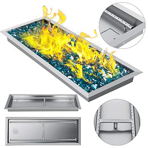 SHIJING Natural Gas Fire Pit Burner Drop In Pan 32'x 12' Propane Square Durable