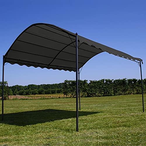 Ksodgun Toldo, Parasol Cenador Exterior de Fibra de poliéster Color Antracita y Negro 3 x 4 x 2,6 m