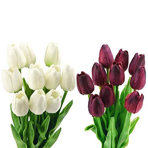 Haude 20 Gambi di Tulipano Bouquet di Fiori Artificiali, Perfetto per Matrimonio, Sposa, Festa, Casa, Vacanze, Giardino, Compleanno, Ufficio Decor DIY