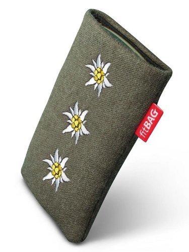 fitBAG Trachten Edelweiß Handytasche Tasche aus Textil-Stoff mit Microfaserinnenfutter für ASUS M930