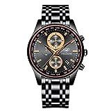 Hombres Cronógrafo de Calidad Deportiva Relojmasculino Relojde Cuarzo de Acero Inoxidable Relojde Hombre