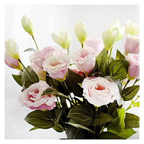 Srfghjs Flores Artificiales 7 unids/Lote Flores Artificiales Europeas 3heads Fake Eustoma...