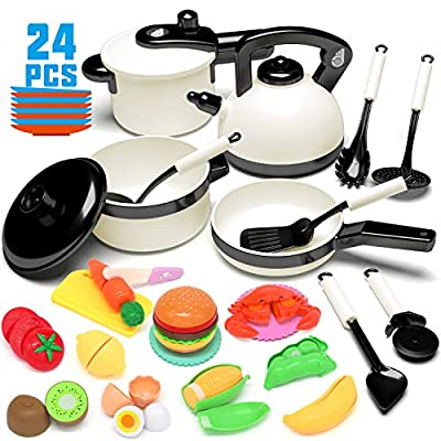 KIDPAR 24PCS Play Kitchen Set for Kids, Pretend Cooking Kit Including Pots and Pans,Cutting Play Food and Other Utensils Accessories, Gift Toys for Toddlers, Baby, Girls, Boys