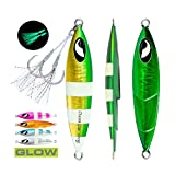 DESIGN: OCEAN CAT lead metal flat slow fall pitch fishing jigs Lures with attactive bright colors ,ideal for reflecting light and attracting fish from a significant distance.Glow in the dark,which can be more attractive to target fish.The front and b...