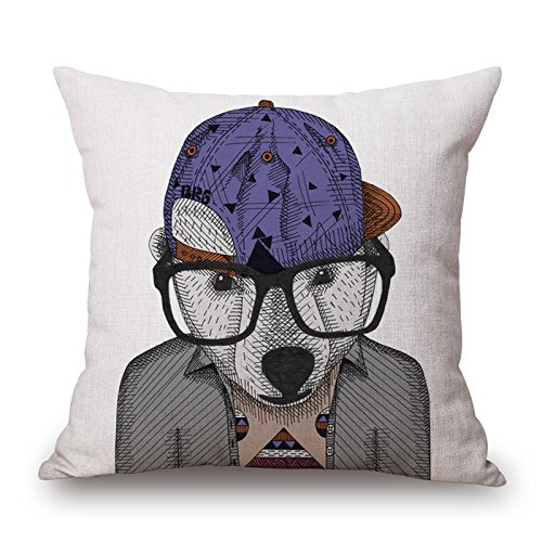 Cartoon Fashion Animal gentleman Cat stampa cotone cuscino divano Home Decor design quadrato 45 cm popular Fashion Pillow case, Cotone, W-83028, 17.7X17.7inch
