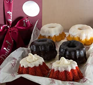 Dulcet Mini Bundt's Assortment Gift Basket, includes 2 of Double Chocolate, 2 Red Velvet, and 2 lemon Mini Bundt's, ideal for birthday, get well, Sympathy, thank you, top gift!