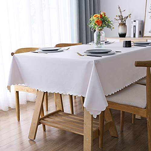Smiry Heavy Duty Vinyl Tablecloth, Waterproof and Oil-Proof Solid Color Wipeable Table Cloth, Washable Table Cover for Indoor and Outdoor Use(60' X 84',White)