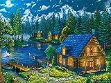 Malen Nach Zahlen ab 7 Jahre Kinder Chalet am See DIY Malen Nach Zahlen für Erwachsene und Anfänger,Pinsel Und Acrylfarben kreatives Gemälde auf Leinwand zur Heimdekoration,40x50cm