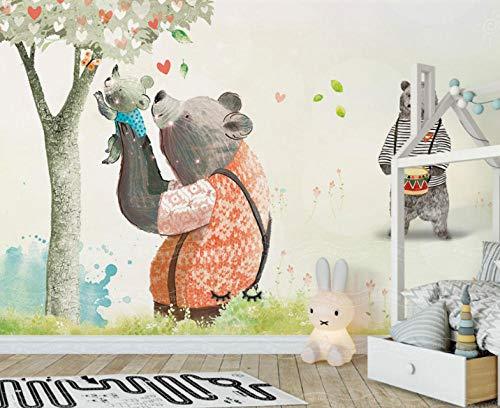 Papier Peint Chambre D'Enfant Famille D'Ours D'Animaux Trompe Oeil Déco Mural Tableaux Muraux Photo Effet 3D 150X100cm