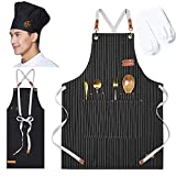 aprons for women, with chef hat and anti-dirty sleeves Unisex Adjustable strap and large pocket apron For designer, barbecue, cooking, hotel restaurant (black strips),Gifts for ladies