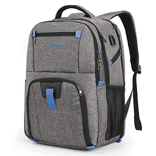 Srotek 17,3 Zoll Business Laptop Rucksack Multifunktional Wasserdicht Reiserucksack mit USB-Ladeanschluss kratzfester Computer Notebook Rucksäcke für Herren und Damen,Grau