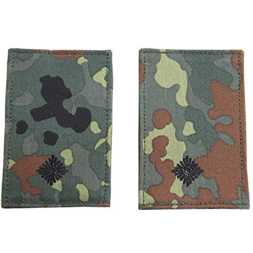 Unbekannt Rangabzeichen mit Klett flecktarn mit schwarzem Stick Leutnant