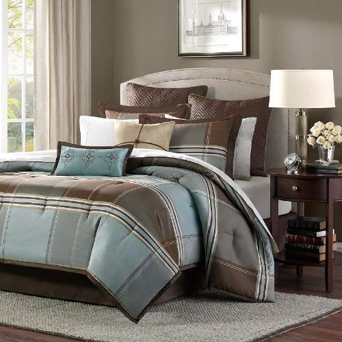 Madison Park Lincoln Square Queen Size Bed Comforter Set Bed in A Bag - Brown, Teal, Plaid - 8 Pieces Bedding Sets - Jacquard Faux Silk Bedroom Comforters