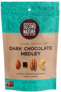 Second Nature Dark Chocolate Medley Trail Mix - Healthy Nuts Snacks Blend - 12 oz Resealable Pouch