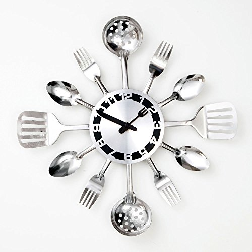 Stainless Steel Wall Clock with Silver Toned Kitchen Utensils