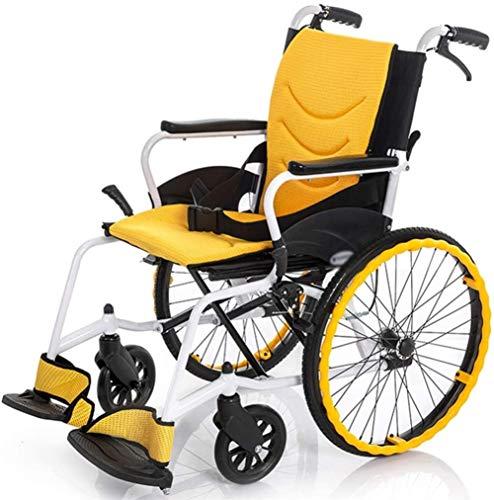 Silla de ruedas de ayuda a la movilidad Plegable silla de ruedas silla de ruedas Luz y -Manual for las neutralizaciones y ancianos - Peso ligero plegable de aluminio de autopropulsión silla de ruedas