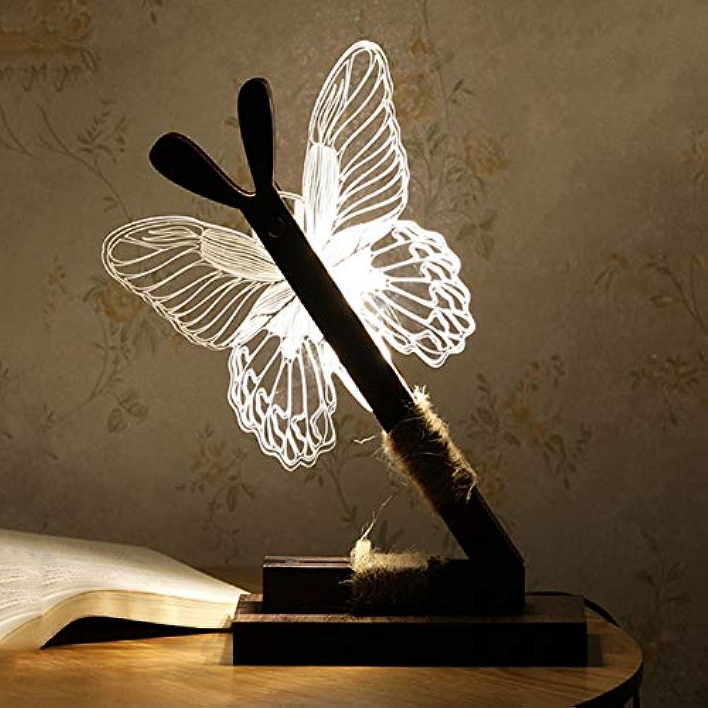 LED Tischlampe, 3D Butterfly Light Schreibtischlampe Nachtlicht, Acrylfolie Illusionslampe, Neuheit Leuchtende Atmosphre Tischlampe, Umgebungslicht für Zimmer Schlafzimmer Dekorative Beleuchtung
