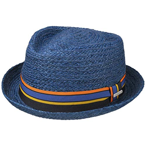 Stetson Cappello in Rafia Cantalo Diamond Uomo - da Sole Estivo Cappelli Spiaggia con Nastro Grosgrain Primavera/Estate - L (58-59 cm) Blu