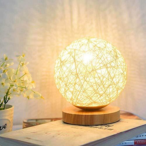 Fantasee - Lámpara de mesa LED para noche, lámpara de noche, funciona con USB, diseño de bola de ratán, regalo de cumpleaños creativo, decoración de la sala de estar, color beige