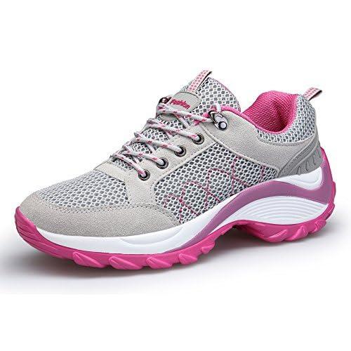 DAFENP Donna Sneakers Scarpe da Ginnastica Corsa Sportive Fitness Running Basse Interior Casual all'Aperto,XZ806-W-grey-EU35