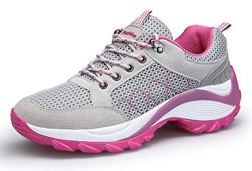 KOUDYEN Damen Mesh Sportschuhe Trendfarben Runners Schnür Sneakers Laufschuhe Fitness,XZ006-grey1-38EU