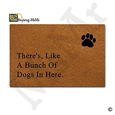 MsMr Doormat Entrance Floor Mat There's, Like A Bunch Of Dogs In HereNon-slip Doormat 23.6 by 15.7 Inch Machine Washable Non-woven Fabric