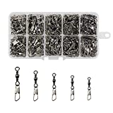 XIAO JING 230pcs/box Barrel Swivel with Safety Snap Fast Rolling Swivel Fishing Line Connector 2# 4# 6# 8# 10#