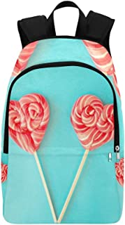 Valentines Day Lollipops On Blue Casual Daypack Travel Bag College School Backpack for Mens and Women