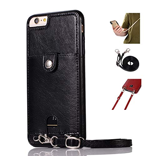 Jaorty PU Leather Wallet Case for iPhone 6 Plus/6S Plus Necklace Lanyard Case Cover with Card Holder Adjustable Detachable Anti-Lost Neck Strap for 5.5 inch Apple iPhone 6 Plus,iPhone 6S Plus,Black