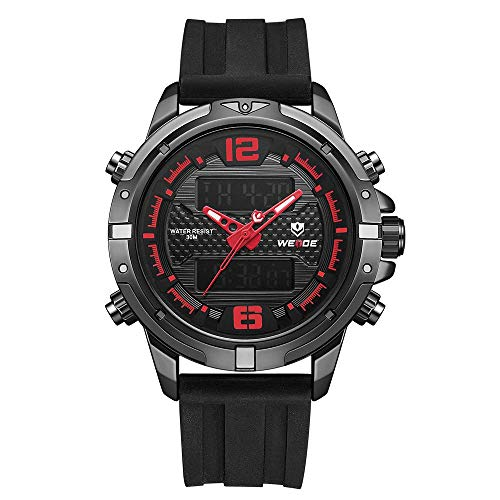 WH8602 Reloj electrónico digital de cuarzo Calendario de hora dual Alarma de semana 3ATM Temporizador impermeable Hombres de negocios Moda Casual Deportes al aire libre Reloj de pulsera masculino