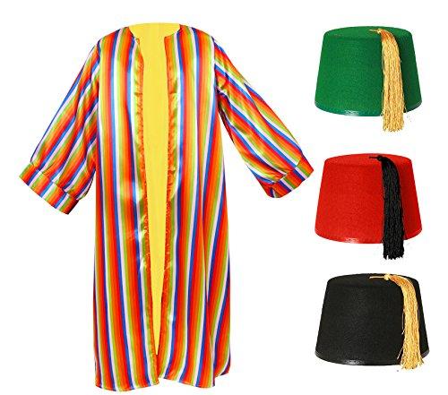 I LOVE FANCY DRESS LTD Technicolor Regenbogenfarben Mantel + FEZ Hut = Joseph Mantel GRÖßE: STANDART