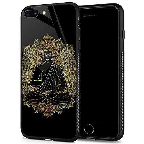iPhone 8 Plus Cases, Tempered Glass iPhone 7 Plus Case Buddha Pattern Design Black Cover Fashion Case for iPhone 7/8 Plus 5.5-inch Buddha