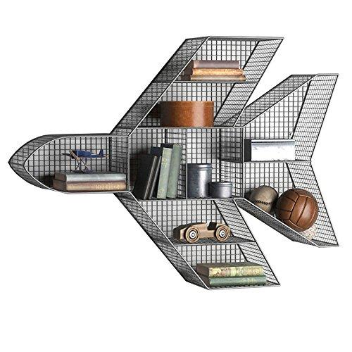 XUEYAN Fondo de la Sala de Estar del Hierro Forjado de la Pared Fondo de los Aviones Modelo del Estante del almacenaje de la decoración del Estante (102 * 20 * 76CM) (Color : Negro)
