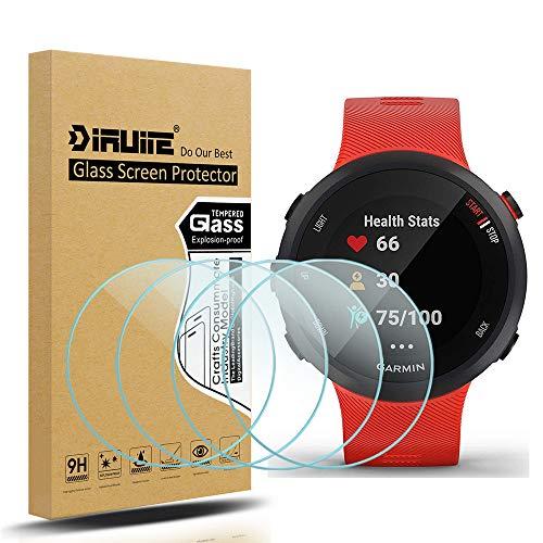 [4 Stück] Diruite für Garmin Forerunner 45 / 45S Panzerglas Schutzfolie, HD Glas Displayschutzfolie für Garmin Forerunner 45 / 45S Intelligente Uhr [Anti-Kratzen] [Anti-Öl] [Keine-Blasenfrei]