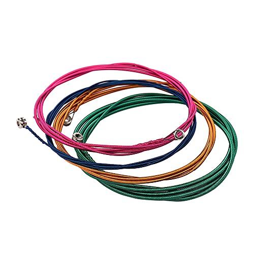 WGOEODI Cuerdas de bajo eléctrico, Juego de 4 Cuerdas con bobinado de aleación de níquel y núcleo de Acero Inoxidable, Multi