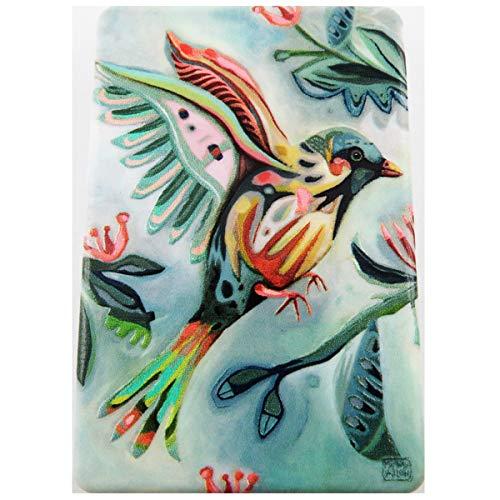 Allen Designs [R1973] - Miroir de poche 'Allen Designs' vert multicolore (oiseau) - 8.5x5.5 cm