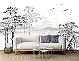 SILK ROAD EU™ Papier Peint Soie Panoramique Esquisse noir et blanc, Format personnalisé, 3D Poster Geant Mural, Paysage Nature vert, pour Salon Chambre Chambre restaurant Décoration Murale