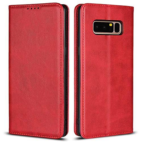 Coque Galaxy Note 8, SONWO Premium PU Cuir Rabat Portefeuille de Protection Coque avec Fonction Support et Fente pour Carte pour Samsung Galaxy Note 8, Rouge