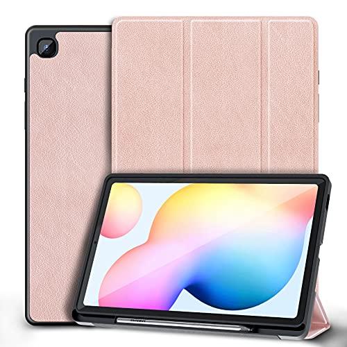 Kdely Hülle Kompatibel mit Samsung Galaxy Tab S6 Lite 2020 Hülle Ultra Dünn Cover mit Standfunktion Slim PU Leder Schutzhülle Passt für Samsung Tab S6 Lite 10.4 Zoll (Pink)