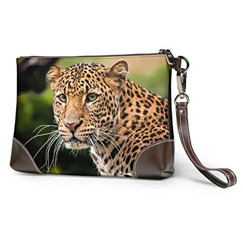 Hdadwy Cartera de mano con retrato de piel de leopardo de Javan,...