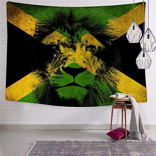 Engshi Mantas para Cama Jamaica Rasta Lion 3D Print Tapestry Wall Hanging for Living Room Bedroom Dorm Decor 59.1 x 82.7 Inch