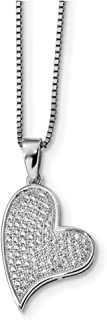 """Lex & Lu Sterling Silver & CZ Brilliant Embers Heart Necklace 18"""" LAL114322"""