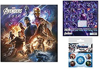 1art1 The Avengers, Endgame Official 2020 Calendar (12x12 inches) and 1x Badge Pack (6x4 inches) Set