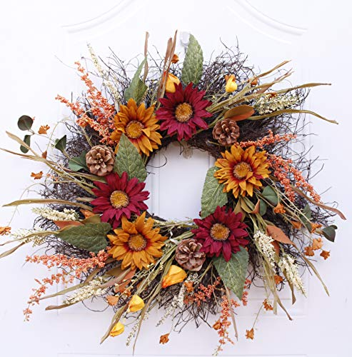 Airy Artificial Sunflower Wreath with Grass and Greens.